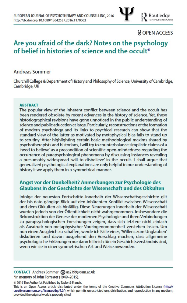 Can Psychotherapists Benefit from History of Science Scholarship